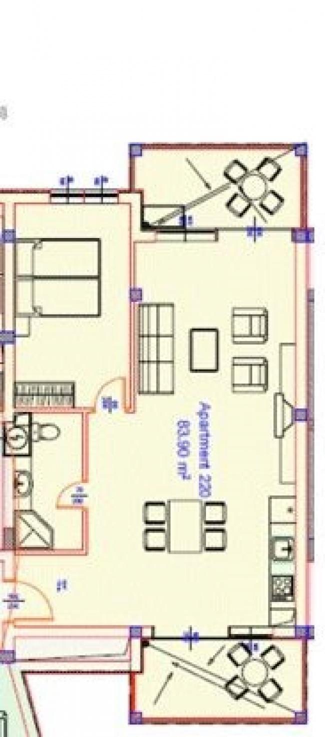 Apartament mobilat in prima linie la mare