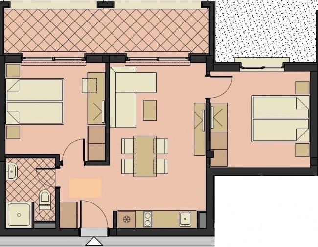 Apartament cu doua dormitoare langa plaja