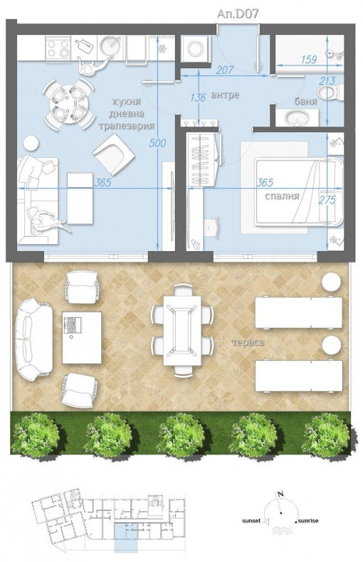 Apartament cu gradina langa plaja